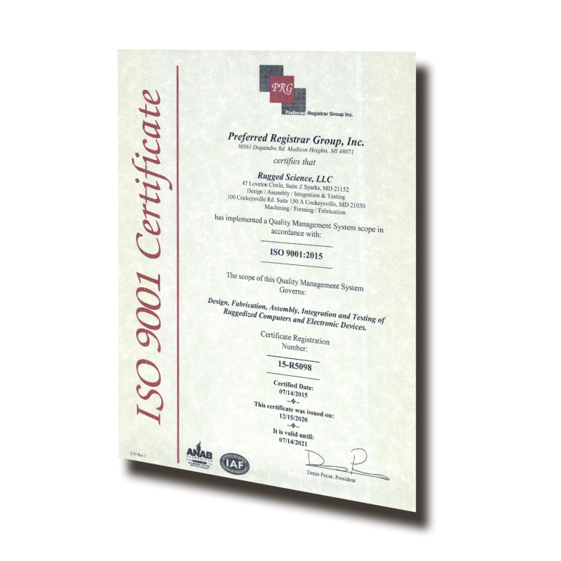 Rugged Science ISO Certificate
